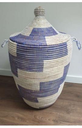 Afrikaanse Rieten Fairtrade Wasmand Blauw Large