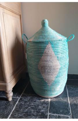 Fairtrade Opbergmand uit Senegal Turquoise 65 cm