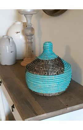 Fairtrade Mandje Small uit Senegal Turquoise