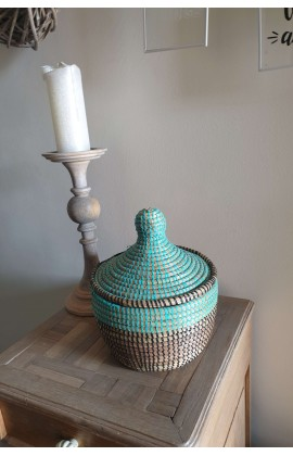 Fairtrade Mandje Small uit Senegal Turquoise Zwart
