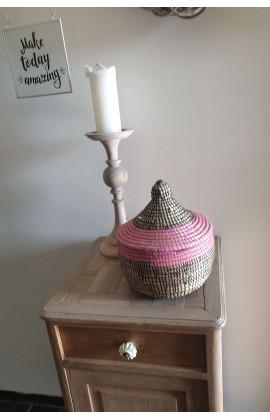 Fairtrade Mandje Small uit Senegal Zwart Roze