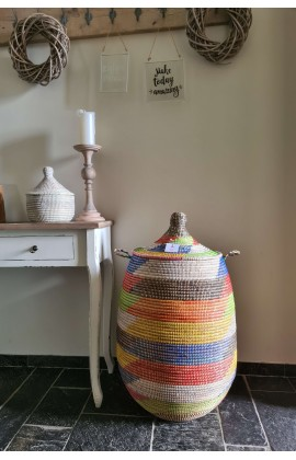 Rieten Fairtrade Wasmand uit Senegal Multicolor