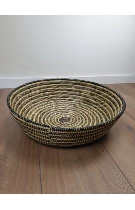Fairtrade Ronde Schaal / Mand uit Senegal Zwart Creme 50 cm