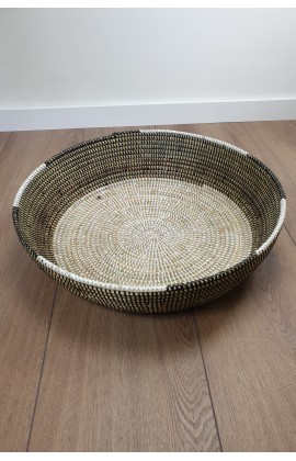 Fairtrade Ronde Schaal / Mand uit Senegal Zwart Wit 50 cm